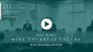 Der Freie Redner Dirk Andreas Taube spricht auf einer Freien Trauung