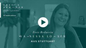 Die Freie Rednerin Vanessa Loser aus Stuttgart stellt sich vor