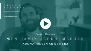Der Freie Redner Benjamin Schuhmacher aus Vaihingen an der Enz stellt sich vor